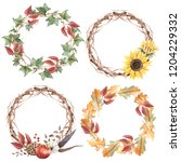 watercolor autumn leaves... | Shutterstock . vector #1204229332