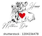 lioness with cub vector sketch... | Shutterstock .eps vector #1204236478