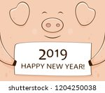 pink smiling pig and card with... | Shutterstock .eps vector #1204250038