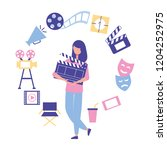 woman holding clapperboard... | Shutterstock .eps vector #1204252975