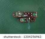 aerial view of tugboat...   Shutterstock . vector #1204256962