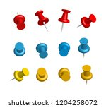 thumbtacks. a set of colored... | Shutterstock .eps vector #1204258072
