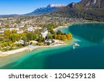 aerial view of annecy lake...   Shutterstock . vector #1204259128