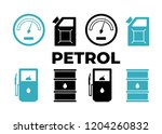 gas station icons set. petrol... | Shutterstock . vector #1204260832