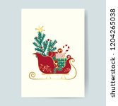christmas card presents on a... | Shutterstock .eps vector #1204265038