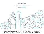 ski resort   modern line design ...   Shutterstock .eps vector #1204277002