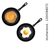 pan with pancake and fried eggs ... | Shutterstock . vector #1204288072
