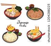 japanese noodles  ramen  udon ... | Shutterstock .eps vector #1204288225