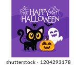halloween cat background in... | Shutterstock .eps vector #1204293178