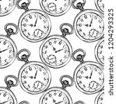 pocket vintage clock vector... | Shutterstock .eps vector #1204293325