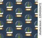 christmas snow globe seamless...   Shutterstock .eps vector #1204303672