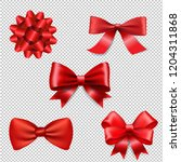red ribbon bow set isolated  | Shutterstock . vector #1204311868