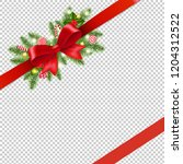 christmas red ribbon and bow... | Shutterstock .eps vector #1204312522