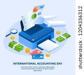 work printer accounting day...   Shutterstock .eps vector #1204336312
