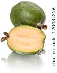Feijoa and sliced. Isolated on white background with reflection - stock photo