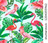 tropical floral seamless... | Shutterstock . vector #1204355962