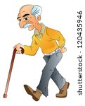 Old Man Walking With A Cane ...