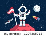 astronaut in space suit... | Shutterstock .eps vector #1204365718