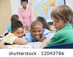 boy being bullied in elementary ... | Shutterstock . vector #12043786
