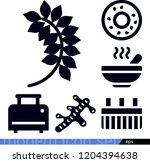 set of 6 food filled icons such ... | Shutterstock .eps vector #1204394638
