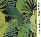 tropical leaves and chains.... | Shutterstock .eps vector #1204405228