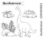 vector brachiosaurus with plant ...   Shutterstock .eps vector #1204405852