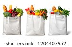 shopping bags with groceries... | Shutterstock . vector #1204407952