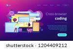 programmers with browser... | Shutterstock .eps vector #1204409212