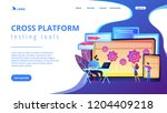 tester and developer work with... | Shutterstock .eps vector #1204409218