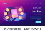 runner uses smartwatch sport... | Shutterstock .eps vector #1204409245