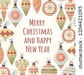 hand drawn vector christmas... | Shutterstock .eps vector #1204421095