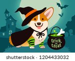halloween cute smiling welsh... | Shutterstock .eps vector #1204433032