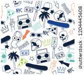 new york skate seamless pattern.... | Shutterstock .eps vector #1204445608