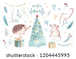 Stock photo watercolor merry christmas illustration with snowman christmas tree holiday cute animals fox 1204445995