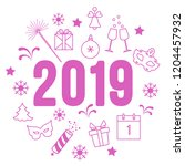 new year symbols. gifts ... | Shutterstock .eps vector #1204457932