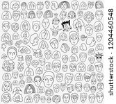 faces of people   doodle set   Shutterstock .eps vector #1204460548