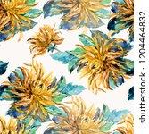 watercolor dahlia seamless... | Shutterstock . vector #1204464832