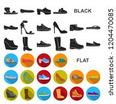 a variety of shoes flat icons... | Shutterstock .eps vector #1204470085