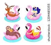 santa  deer  sloth  unicorn...   Shutterstock .eps vector #1204485355