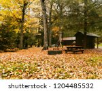 campground in fall  closed for... | Shutterstock . vector #1204485532