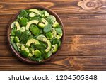 green baby spinach salad with... | Shutterstock . vector #1204505848