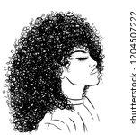 curly beauty girl illustration... | Shutterstock .eps vector #1204507222