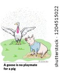 proverbs and sayings. a goose... | Shutterstock .eps vector #1204515022