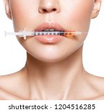 beautiful woman with injection...   Shutterstock . vector #1204516285