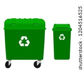 green garbage container and...   Shutterstock .eps vector #1204516525