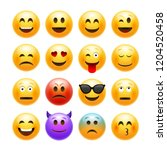 emoticons emoji set. smile... | Shutterstock . vector #1204520458