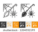 halloween black linear and... | Shutterstock .eps vector #1204552195