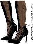 vector girls in high heels.... | Shutterstock .eps vector #1204552798