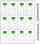 cute monthly calendar 2019 year ...   Shutterstock .eps vector #1204559278