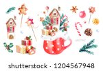 hristmas  house  watercolor... | Shutterstock . vector #1204567948